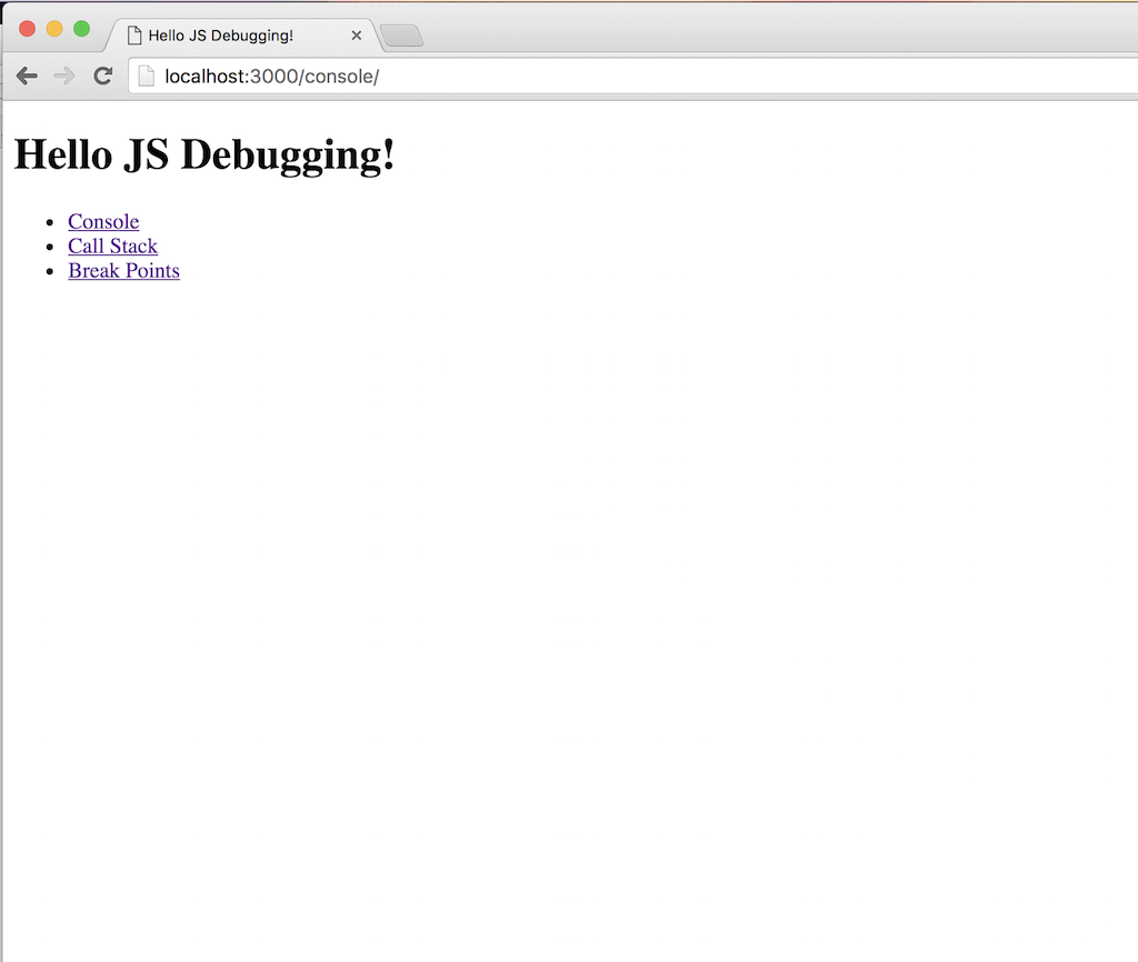 JS Chrome Developer Tools Demo Homepage