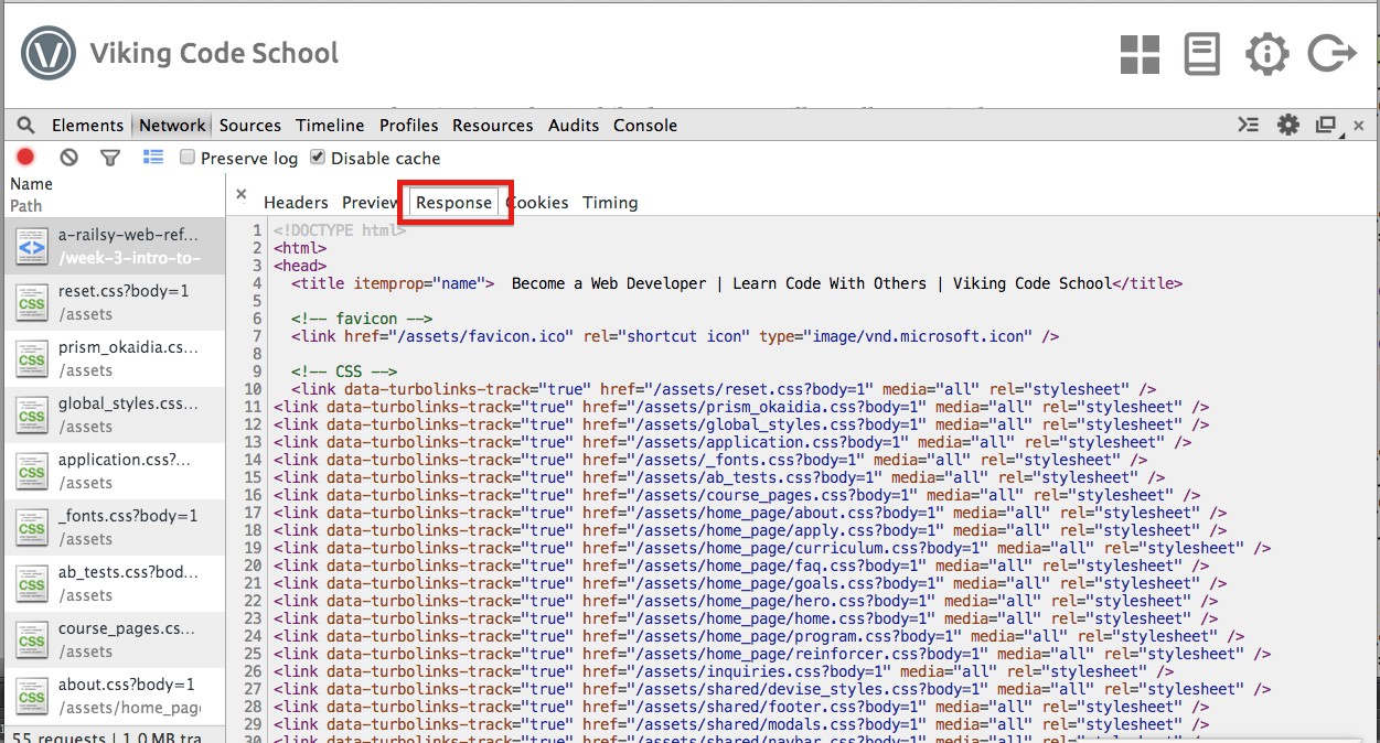 HTTP response in Chrome developer tools