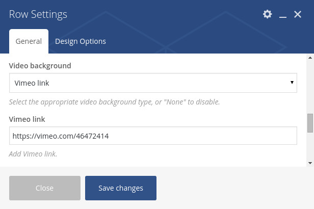 Vimeo Background Video for Visual Composer 1