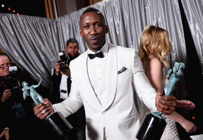 LOS ANGELES, CA - JANUARY 29: Actor Mahershala Ali, winner of the awards for Outstanding Male Actor in a Supporting Role for 'Moonlight' and Outstanding Cast in a Motion Picture for 'Hidden Figures,' poses with awards backstage during The 23rd Annual Screen Actors Guild Awards at The Shrine Auditorium on January 29, 2017 in Los Angeles, California. 26592_017 (Photo by Matt Winkelmeyer/Getty Images for TNT) *** Local Caption *** Mahershala Ali