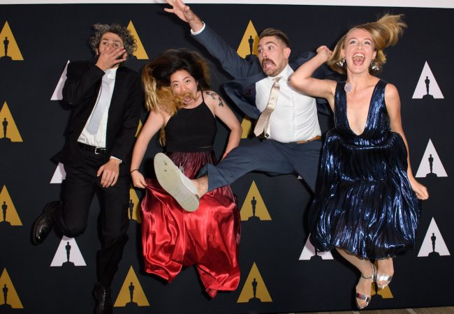 The Academy of Motion Picture Arts and Sciences presented its 43rd Annual Student Academy Awards® on Thursday, September 22, in Beverly Hills. Pictured (left to right): Foreign Animated film winner Ahmad Saleh, Animated film winner Echo Wu, Animated film winner Carter Boyce and Animated film winner Alicja Jasina.
