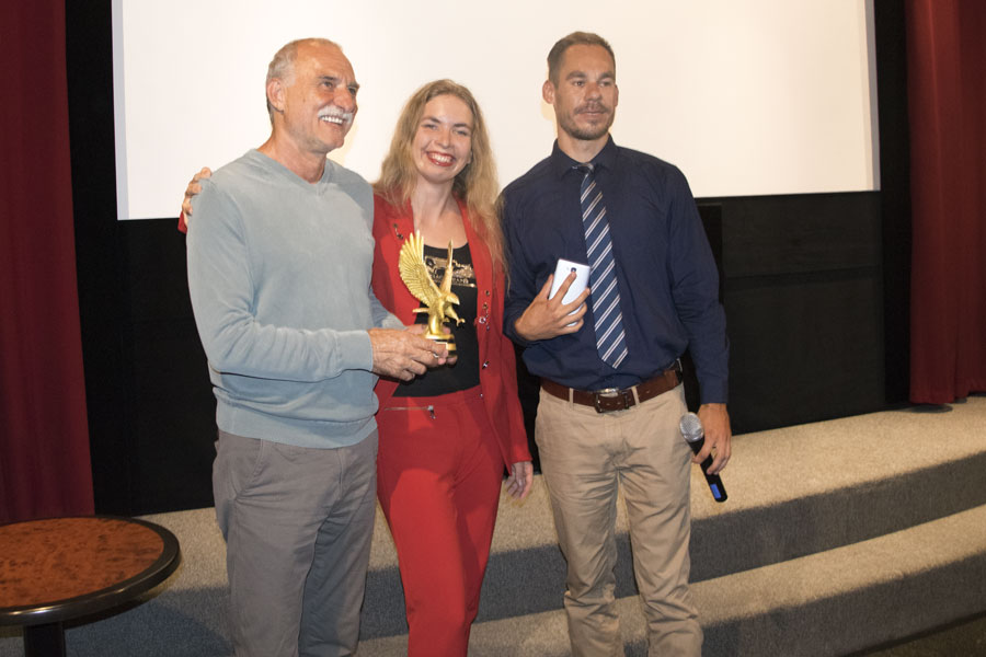 Lazar Ristovski receiving his Grand Prix for the film Train Driver's Diary at 2017 Prague Independent Film Festival