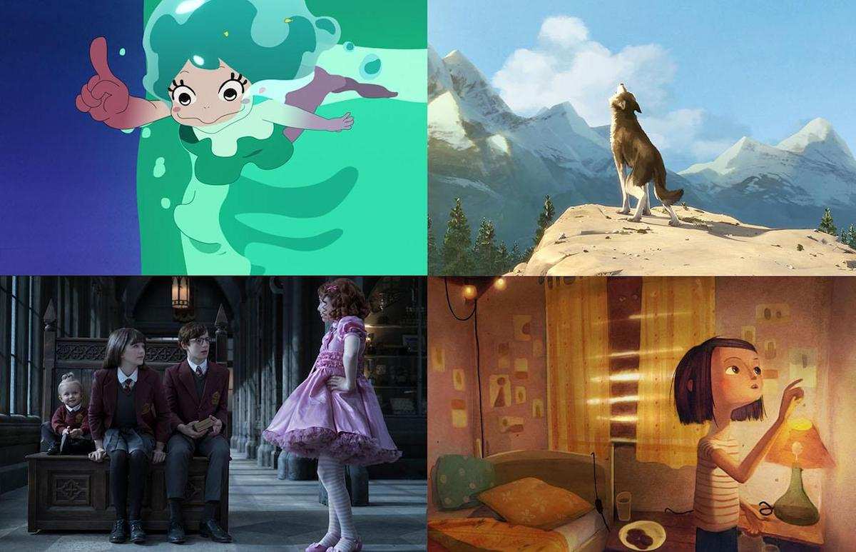 Clockwise: Lu Over the Wall, White Fang, Wolves in the Walls, A Series of Unfortunate Events: Season 2