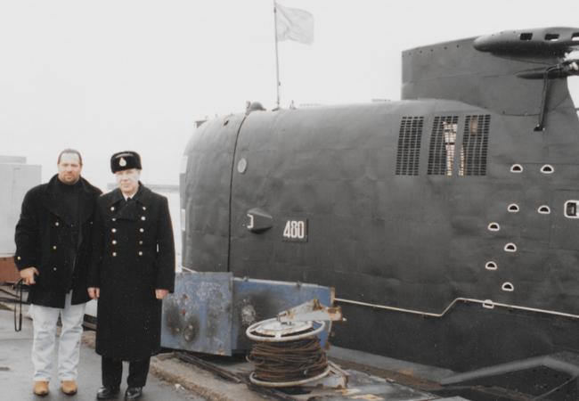 "Caption: Leonid ""Tarzan"" Fainberg with unidentified Soviet Admiral posing beside a foxtrot submarine purchased on behalf of the Cali Cartel. | Credit: International Fugitive Nelson Tony Yester"
