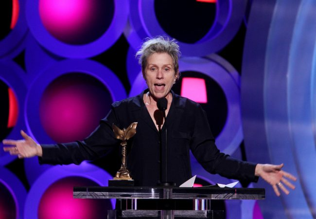 SANTA MONICA, CA - MARCH 03: Actor Frances McDormand accepts Best Female Lead for 'Three Billboards Outside Ebbing, Missouri' onstage during the 2018 Film Independent Spirit Awards on March 3, 2018 in Santa Monica, California. (Photo by Tommaso Boddi/Getty Images)