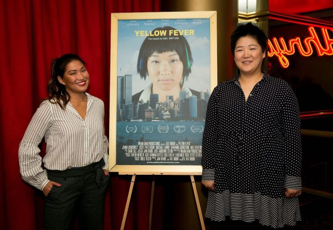 "Jenna Ushkowtiz (L) and Kat Moon (R) at the LA Premiere of ""Yellow Fever."" Photo credit: Gillian Perry"
