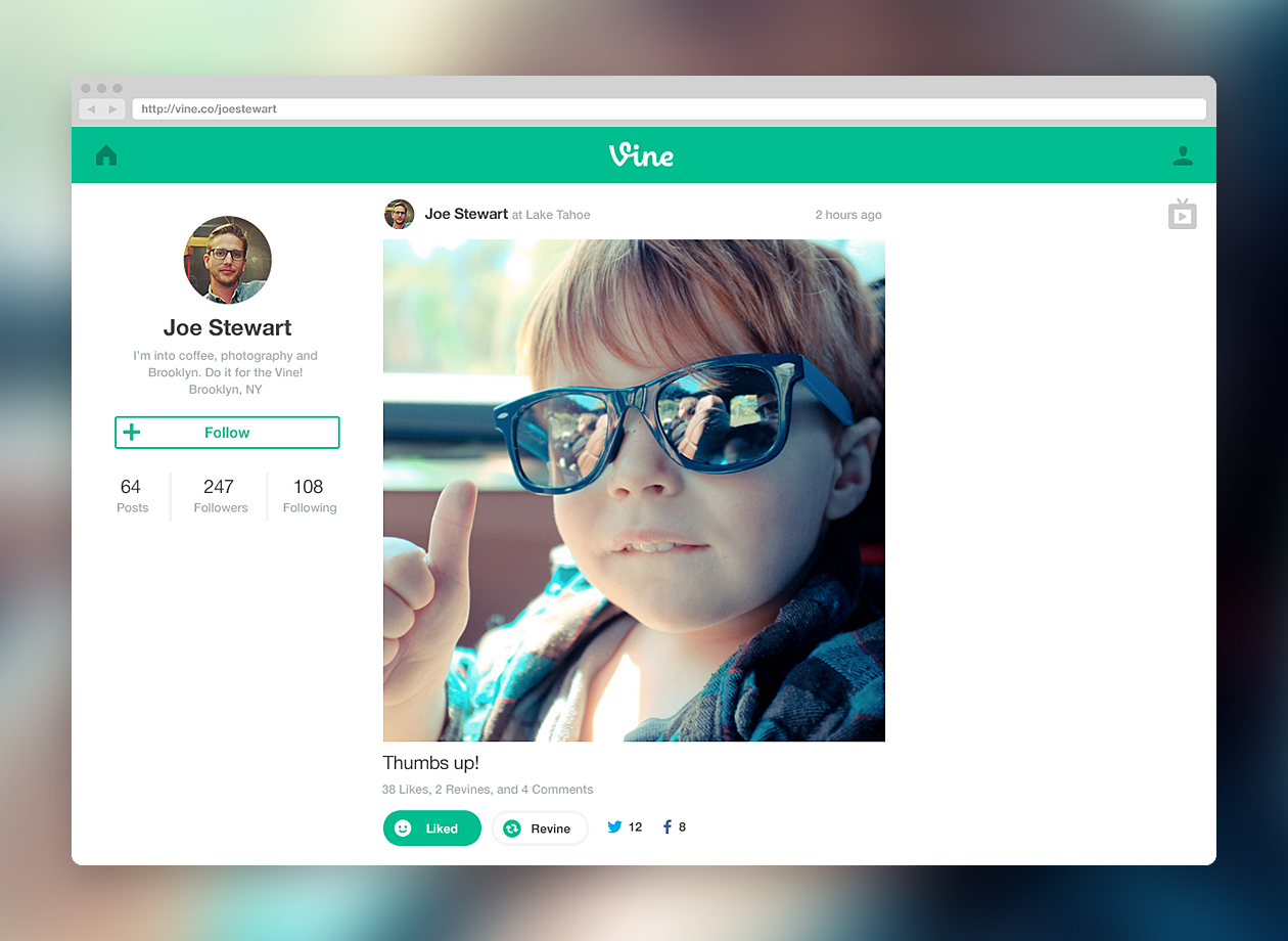 Twitter's Vine Launches Web Profiles and Full-Screen TV Mode