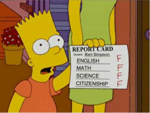 bart simpson report card