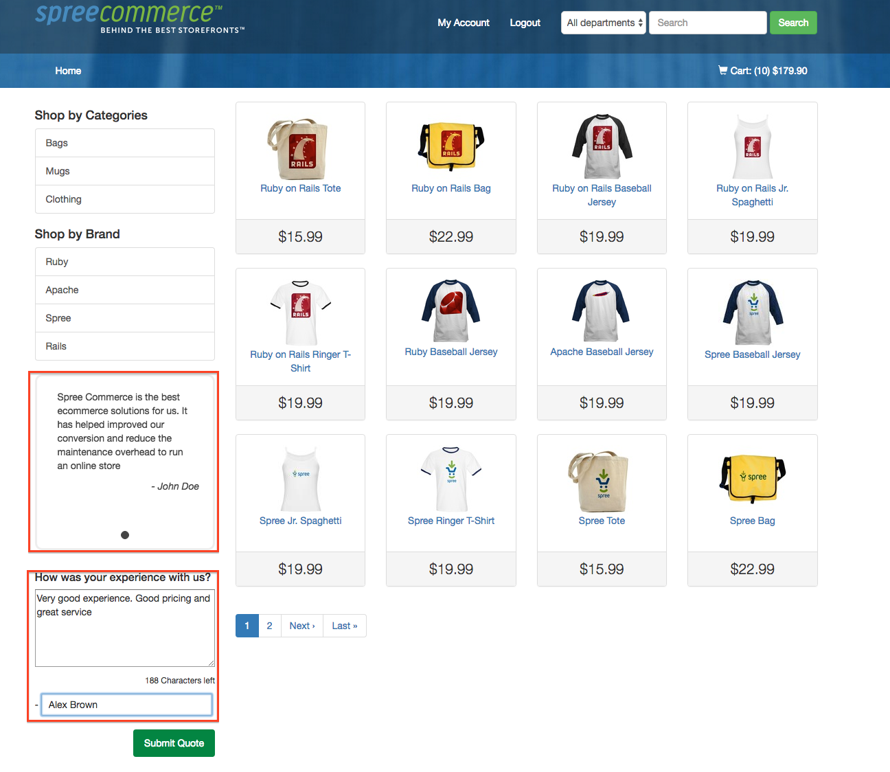 Spree Commerce screenshot
