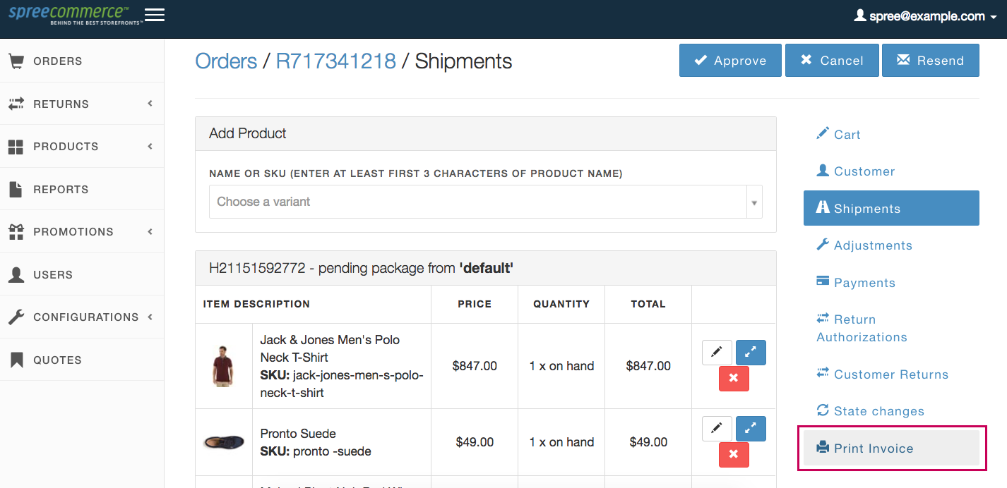 Spree Commerce HTML Invoices - Invoice page