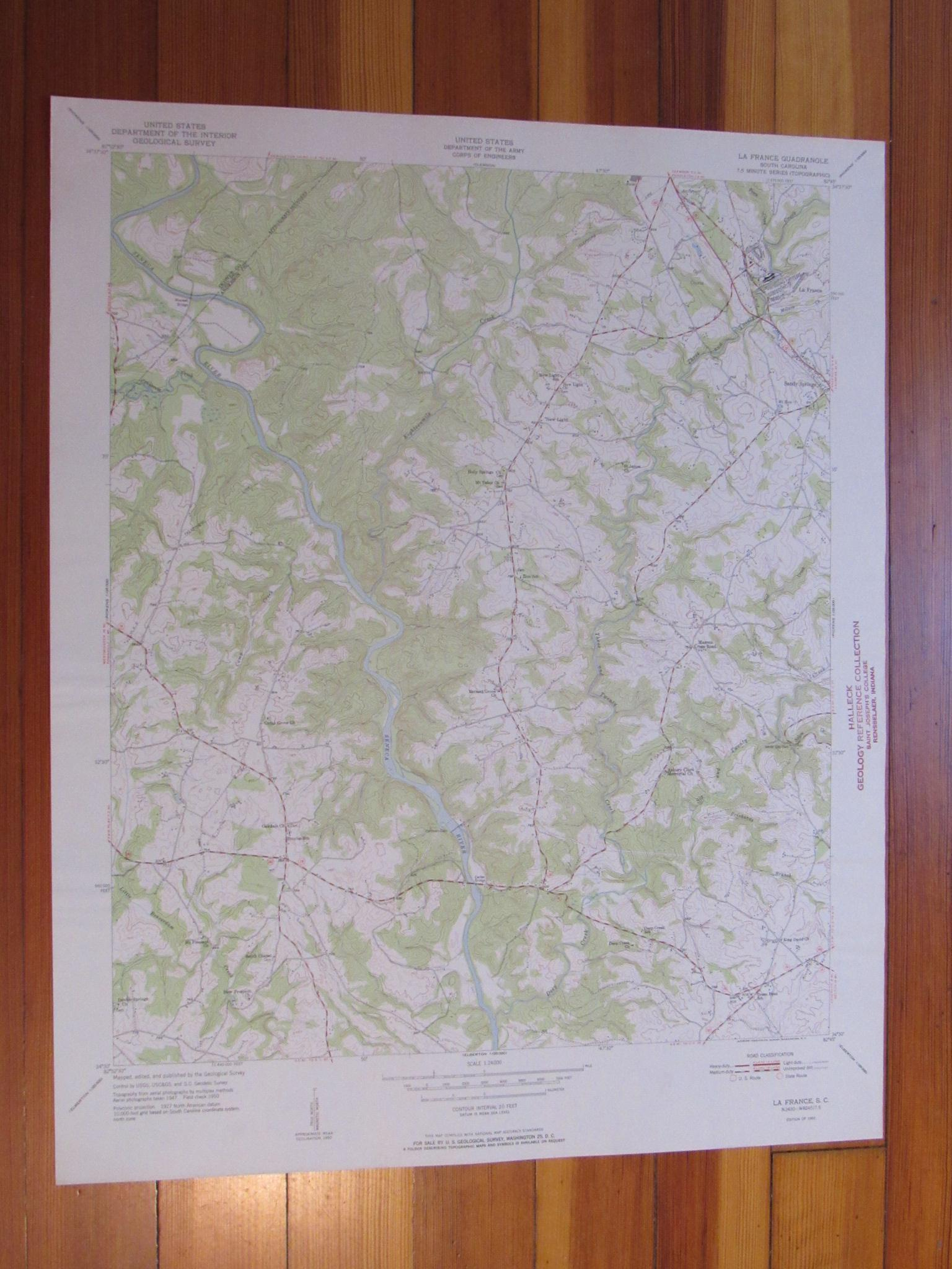 La France South Carolina 1951 Original Vintage Usgs Topo Map Ebay