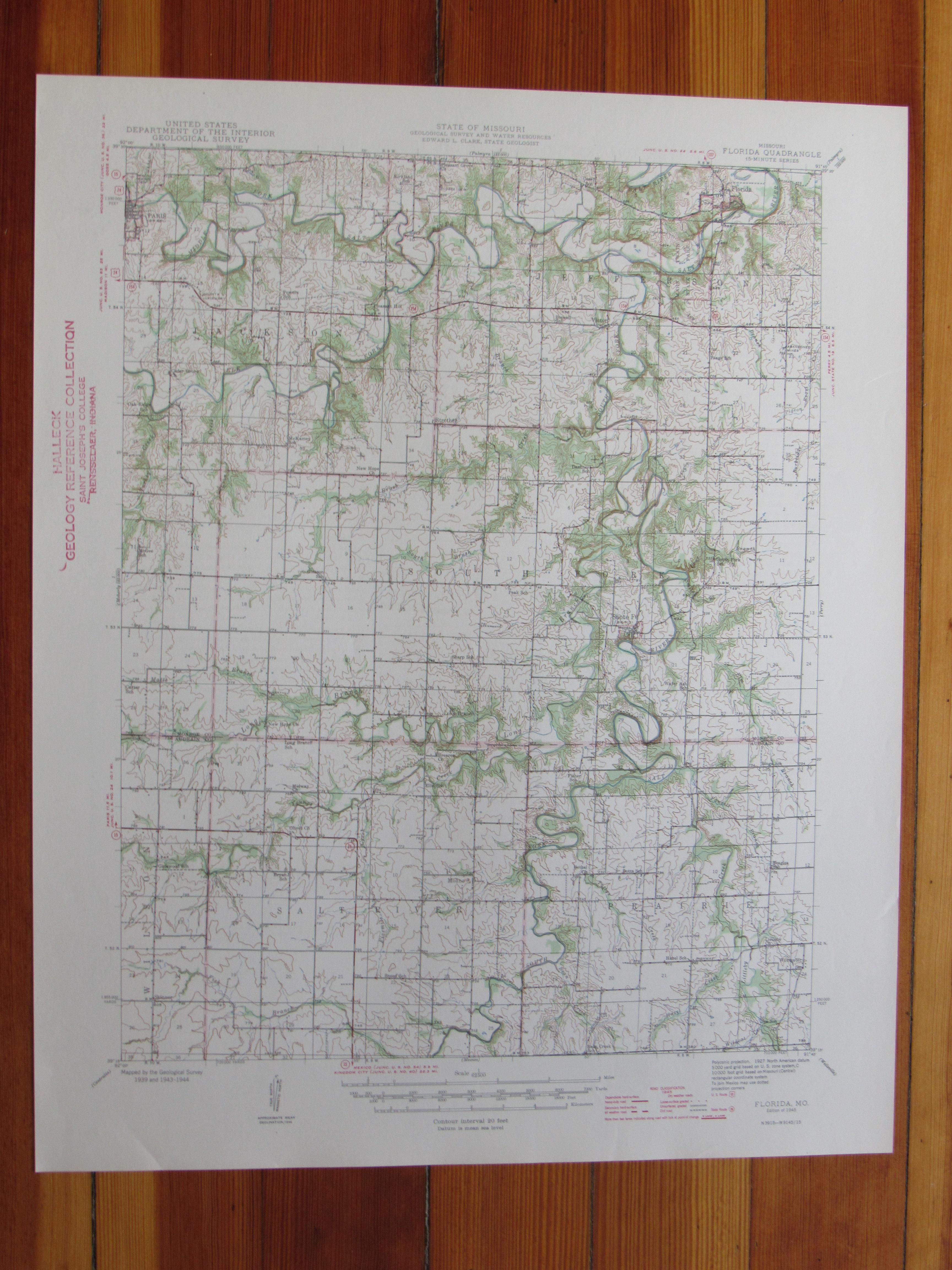 Florida Missouri 1945 Original Vintage USGS Topo Map   eBay