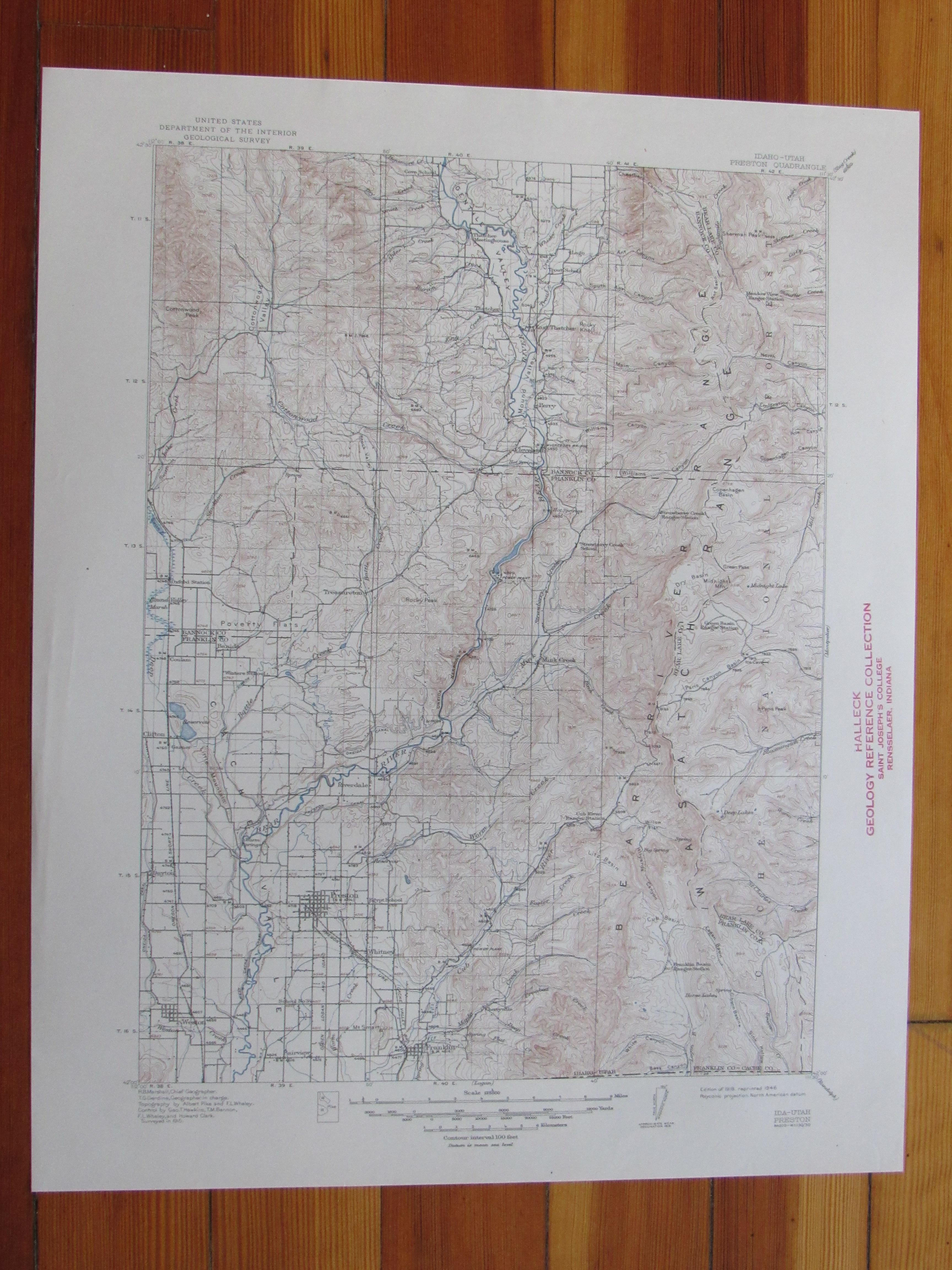 Preston Idaho 1946 Original Vintage USGS Topo Map   eBay