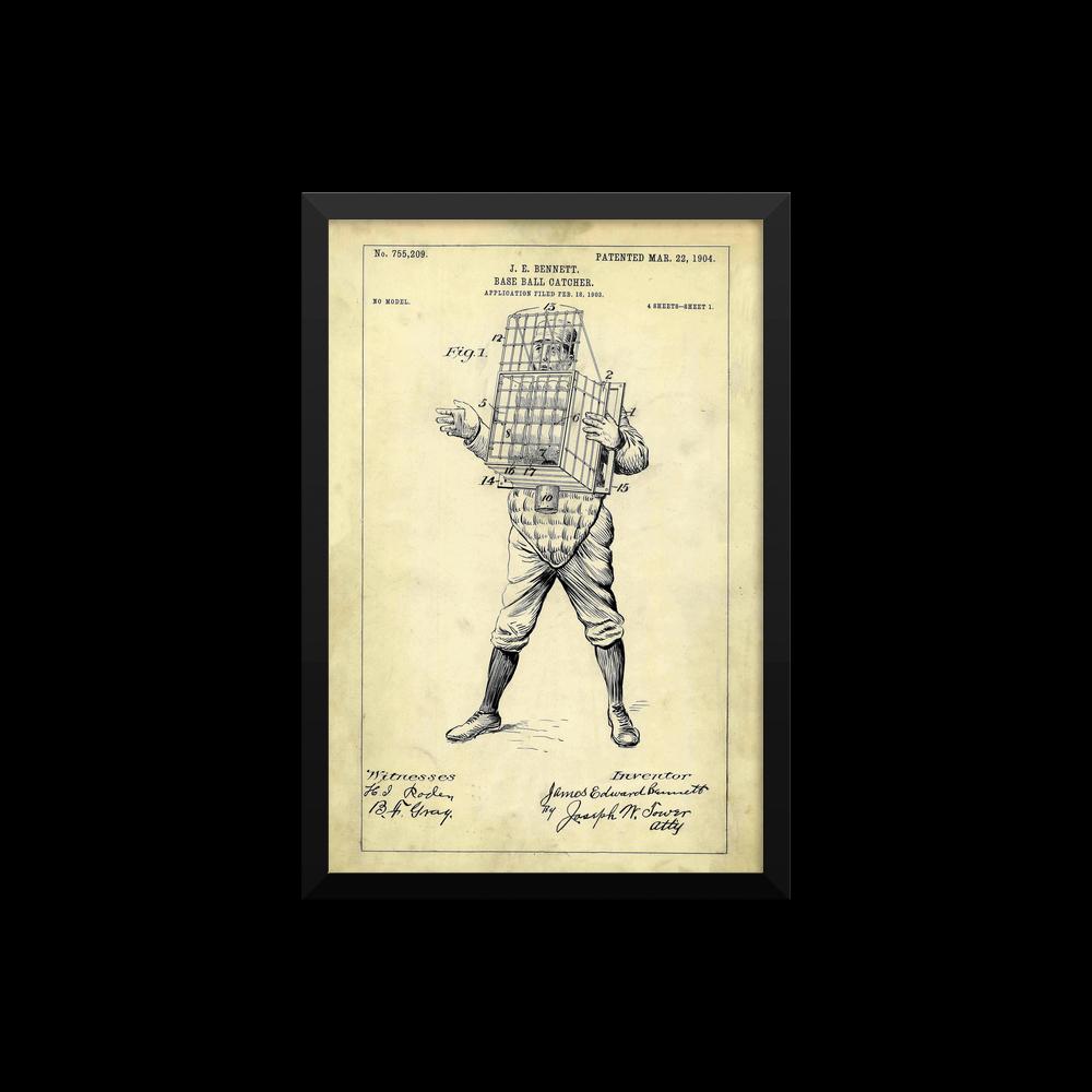 Baseball Patent Poster Framed