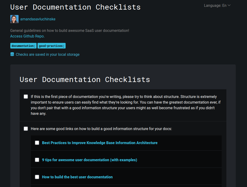 Image showing a print screen of the checklist.