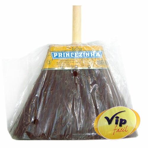 Vassoura de Sintético Com Cabo de Madeira Nº3 Vassouras Princezinha