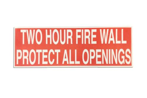Two Hour Fire Wall Warning Labels