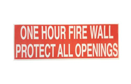 One Hour Fire Wall Warning Labels