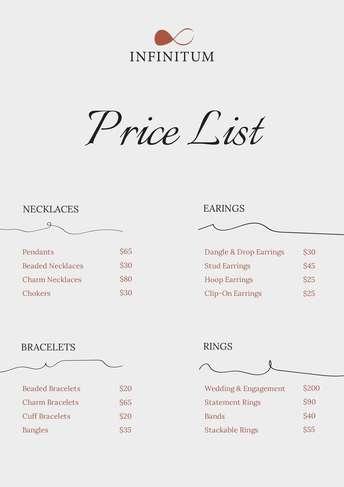 Jewelry Price List A4