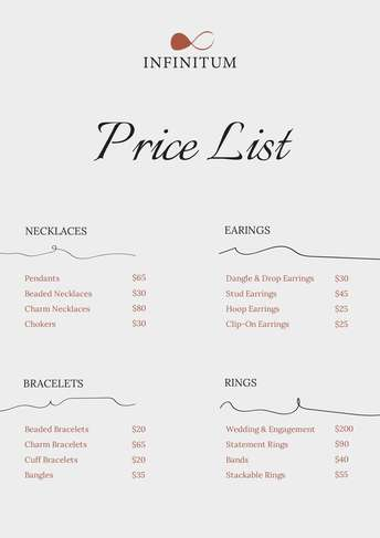 Jewelry Price List A4