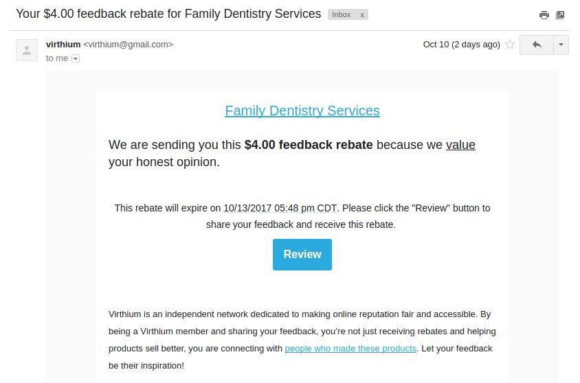 virthium feedback rebate email