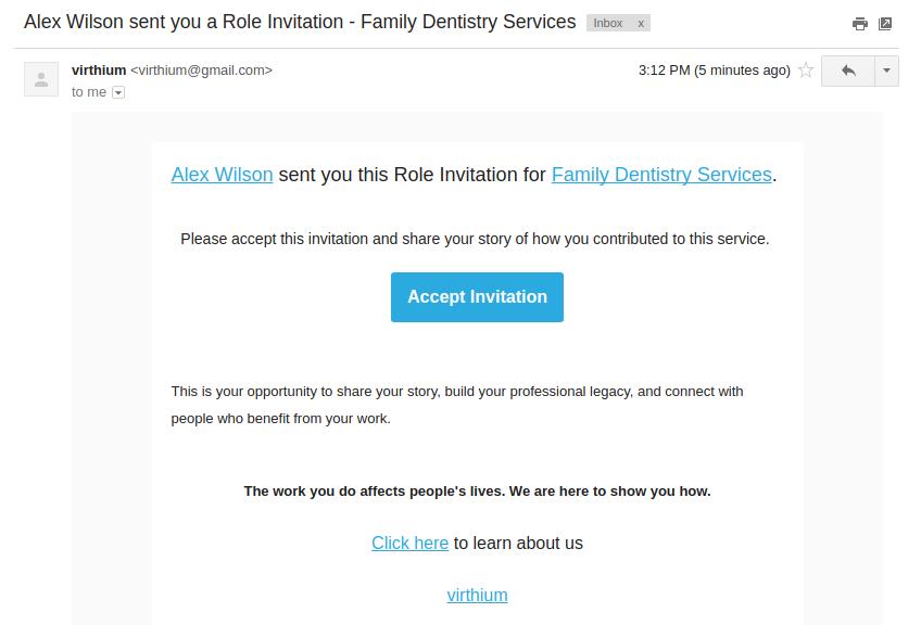 virthium role email invitation