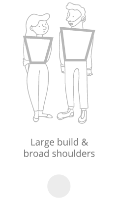 Large build and broad shoulders