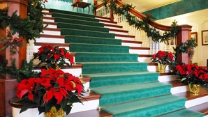 Mansion stairs christmas