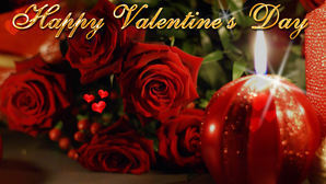 Happy valentines day ecard wallpaper candle roses 10