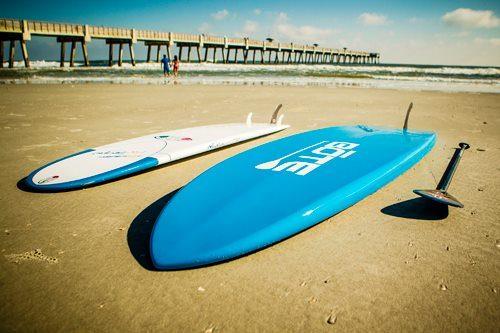 Surf boards on Jacksonville Beach in Jacksonville, Florida