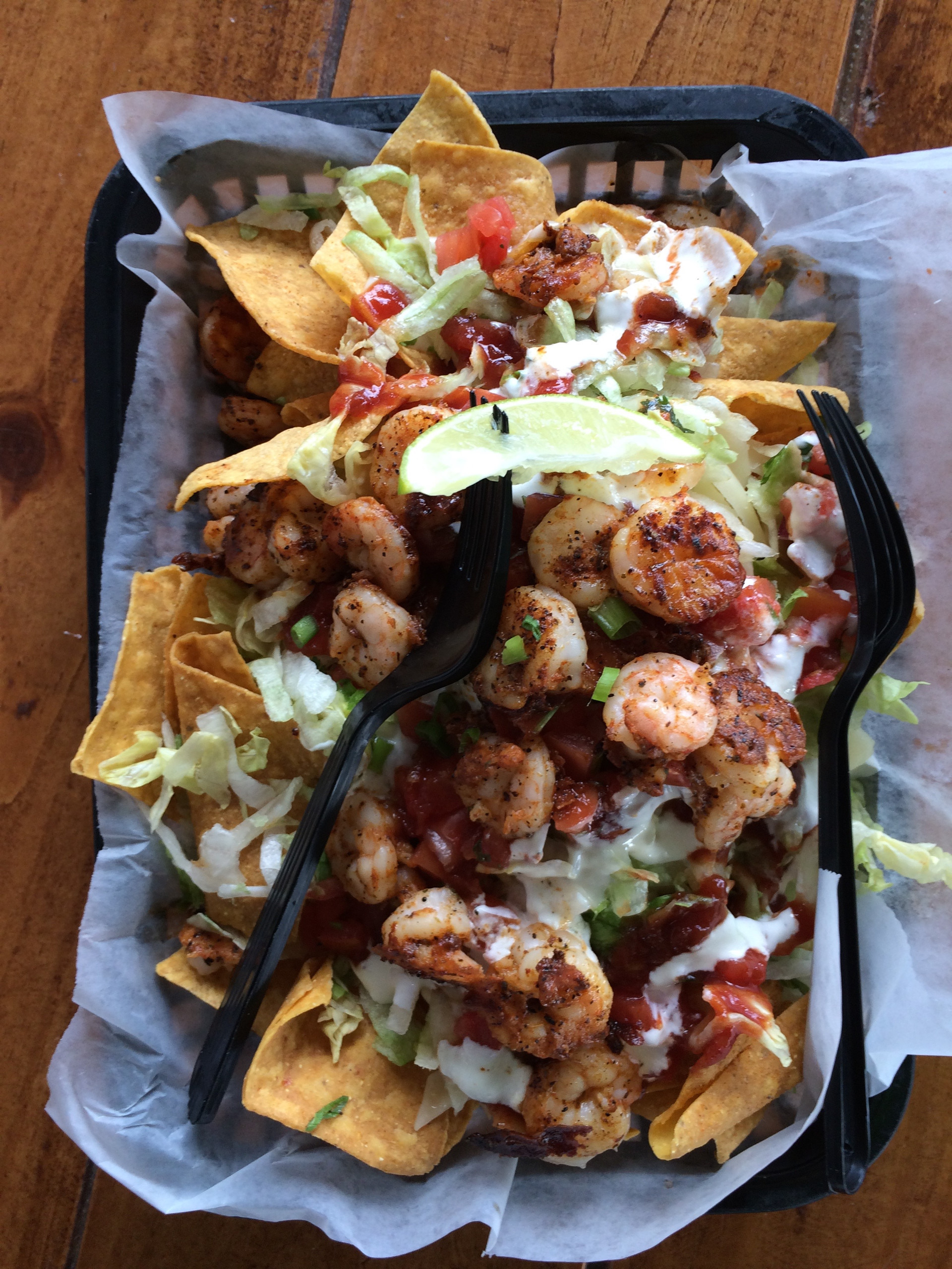 A shrimp taco salad at Safe Harbor Seafood Restaurant in Jacksonville, Florida