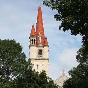 winona, minnesota, wesley, united, methodist, church, bell, tower
