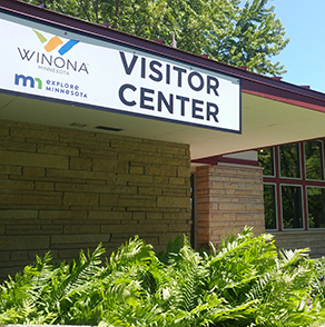 winona, minnesota, visitor, center, sign, exterior