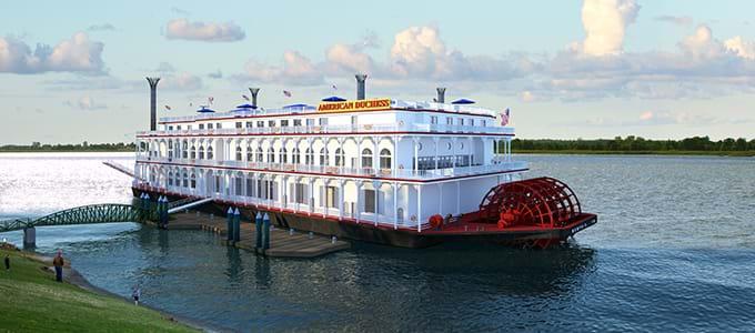 american, duchess, docking, winona, minnesota, mississippi, river, cruises, luxury, paddle, wheeler