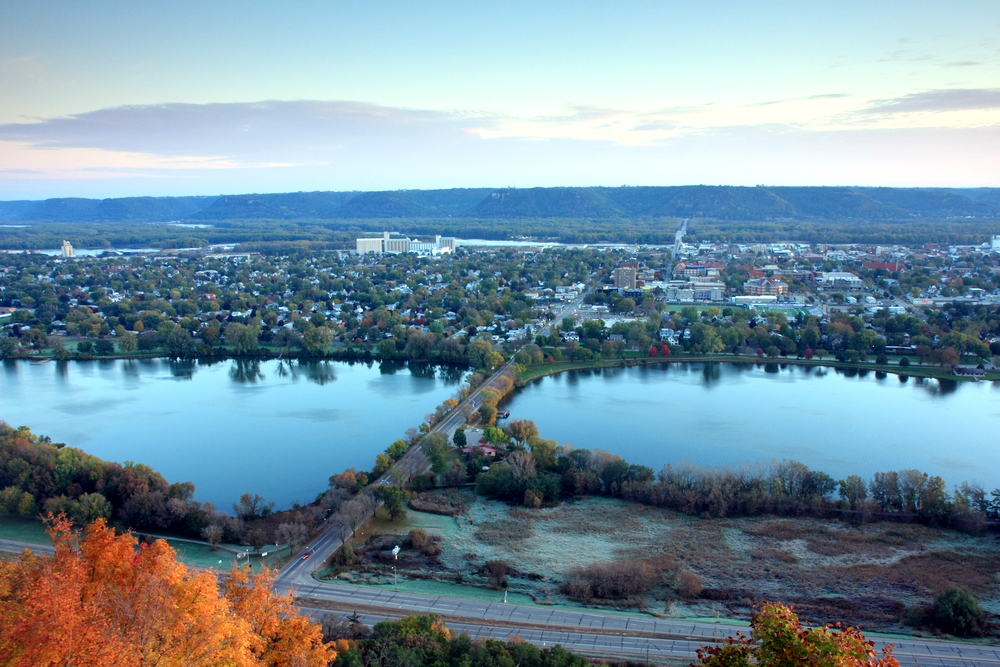 winona, minnesota, garvin, heights, lookout, overlook, scenic, view, lake, city, highway, aerial