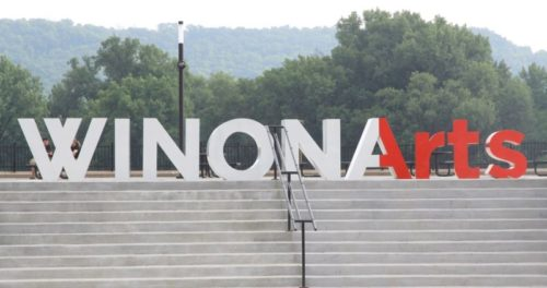 winona arts letters creative signage top of levee park steps