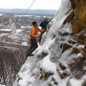 ice park, winter, ice climbing