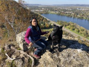 Dog and Owner at Garvin Heights City Park Winona Minnesota Hiking Overlook