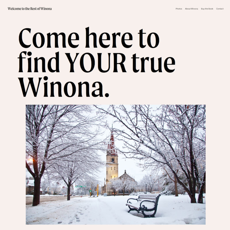 Welcome to the Rest of Winona Travel Vertical Squarespace Winona Ryder Super Bowl commercial destination marketing response website
