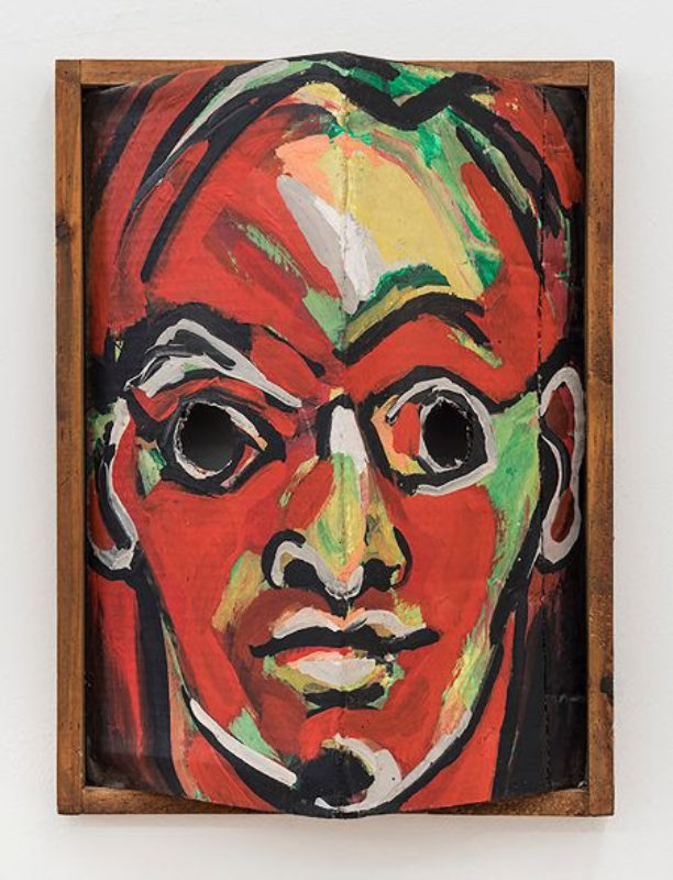 Luis Frangella John 1984 Acrylic On Cardboard Box In Wooden Frame 21 ½ X 16 X 7 ½""
