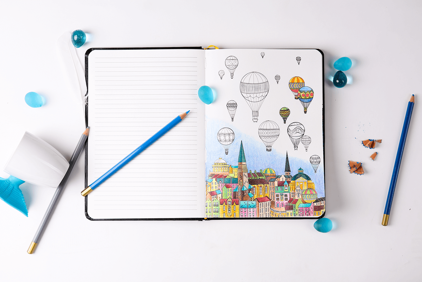 Stress relief coloring books disney - Double Happiness A Notebook Combined With Adult Coloring Book For Stress Relief