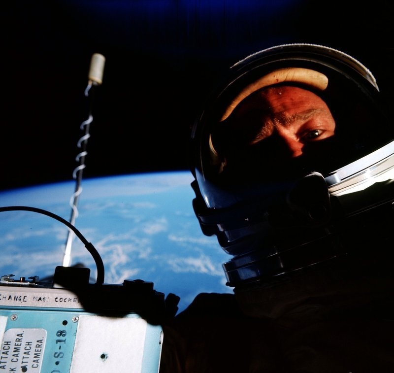 Performing an early space walk (or EVA) on Gemini 12 in 1966, Buzz Aldrin turned the camera on himself and captured the first selfie in space.