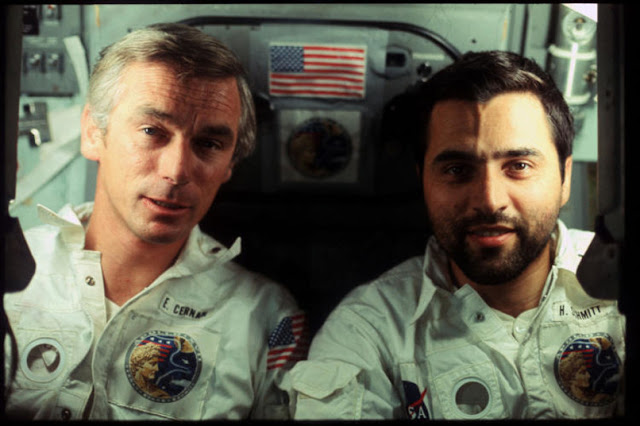 Eugene Cernan and Harrison Schmitt on the last trip to the moon aboard Apollo 17.