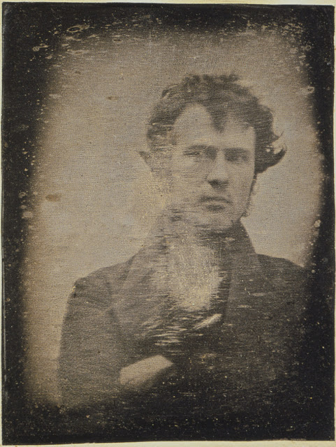 "Not only is this an extremely early photograph, but it might be the first selfie. Robert Cornelius took this self-portrait in 1839. The back reads ""The first light picture ever taken."""