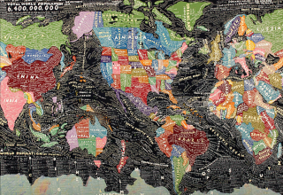 Layered map of world
