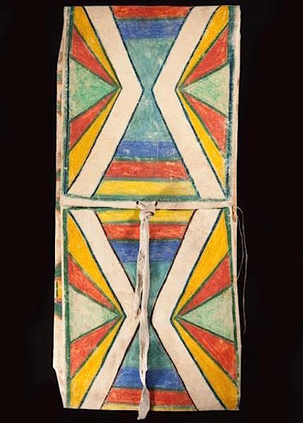 """Yakima envelope parfleche, a 12"""" x 28"""" painted rawhide saddlebag, from the early 20th century. (Courtesy of John Molloy Gallery)"""