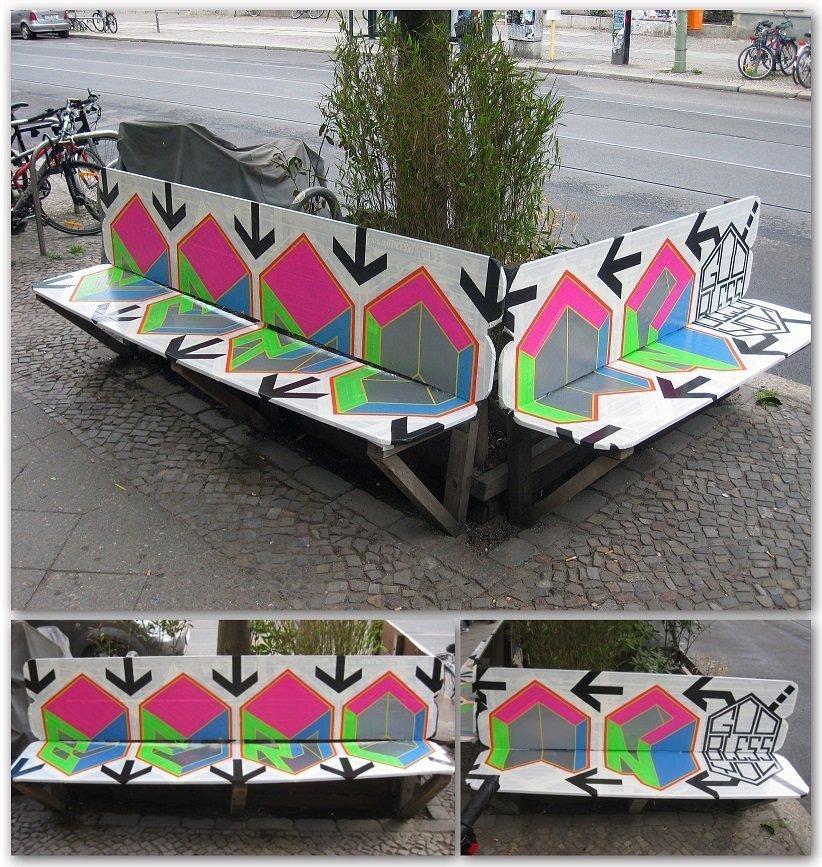 tape art bench