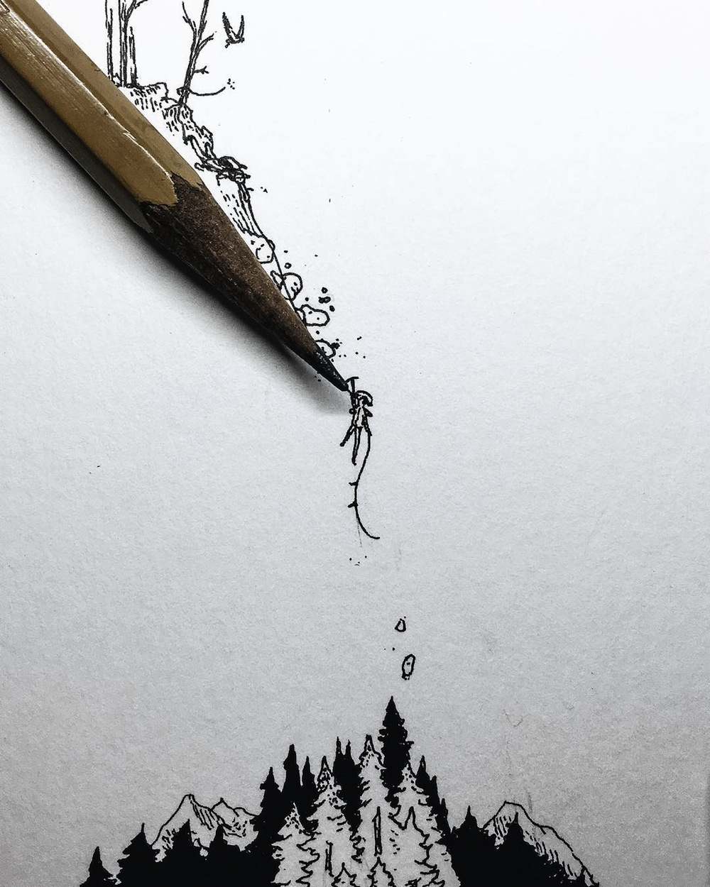 insanely teeny tiny ink drawings smaller than the tip of a pencil