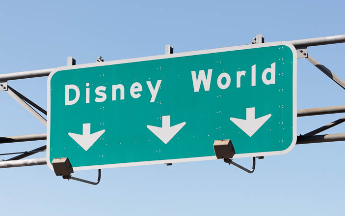 Highway exit sign for Disney World