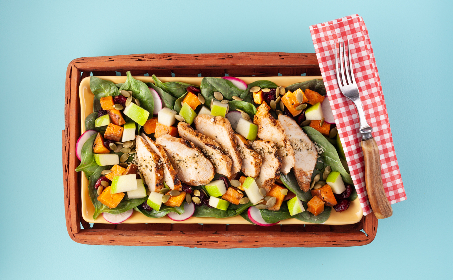 Grilled Chicken and Apple Salad with Apple Cider Vinaigrette